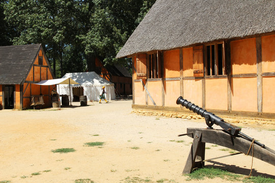 Recreated interior of the James Fort at the historic Jamestown Settlement, Virginia, USA
