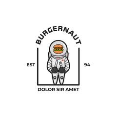 Burgernaut character mascot logo icon. Astronaut american burger food character illustration