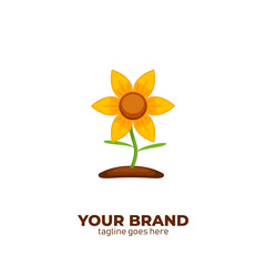 Florist shop store logo. Sun flower logo icon illustration on soil vector