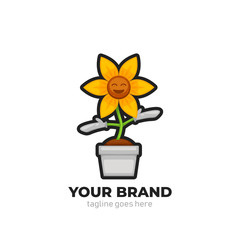 Florist shop happy smile sun flower mascot character logo icon illustration in cartoon style
