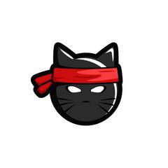 Ninja cat head logo icon esport illustration sticker mask