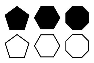pentagon, hexagon, octagon icon. vector geometry pentagonal, hexagonal, octagonal polygon. five, six, eight sided polygon line