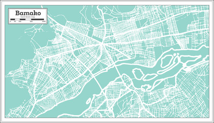 Bamako Mali City Map in Retro Style. Outline Map.