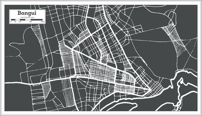 Bangui Central African Republic City Map in Retro Style. Outline Map.