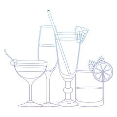 set cups cocktails icons vector illustration design