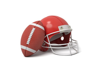 3d rendering of a red American football helmet lying near a red oval ball on a white background.