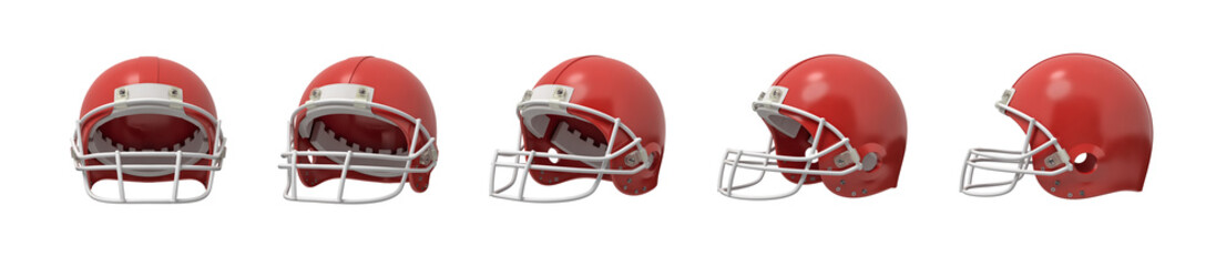 3d rendering set of American football helmets in red color isolated on white background.