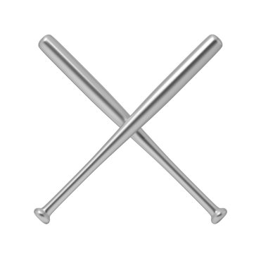 3d rendering of two sleek steel baseball bats crossing each other on a white background.