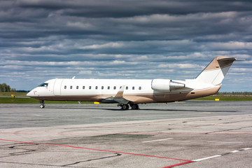 Corporate business aircraft at the parking lot of airport