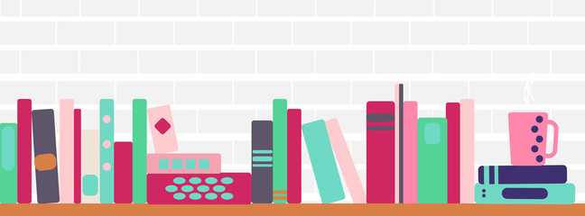 illustration of bookshelves with retro style books