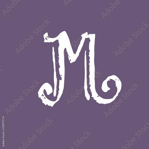 Letter M Vintage Grunge Font Gothic Style Letter Vector
