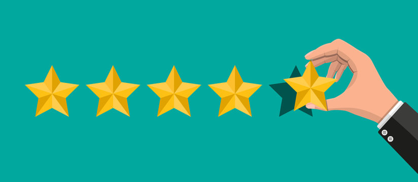 Hand puts rating. Reviews five stars. Testimonials, rating, feedback, survey, quality and review. Vector illustrayion in flat style
