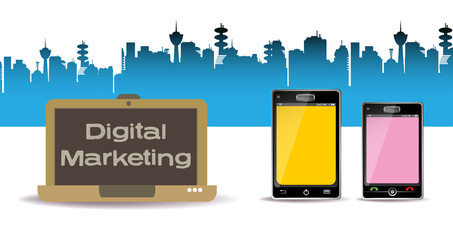 Colorful background with two smartphones, a laptop and the text digital marketing written on the laptop`s screen