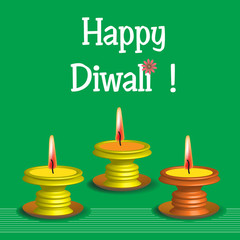 Colorful background with three candles and the text Happy Diwali written with white letters