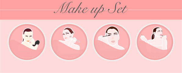 Make up or set make up with women beautiful on pink background.