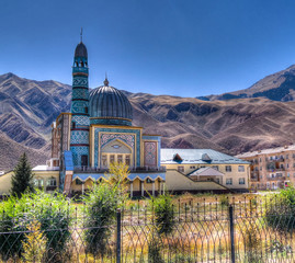 exterior view to Naryn Central Mosque, Kyrgyzstan