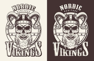 T-shirt print with viking head