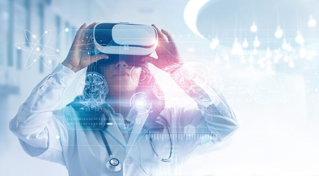 Medical technology concept. Mixed media. Female doctor wearing virtual reality glasses. Checking brain testing result with simulator interface.