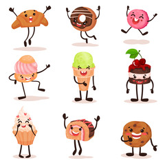 Funny humanized desserts cartoon characters set, croissant, donut, cake, ice cream, cookie with funny faces vector Illustration on a white background