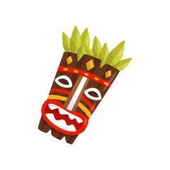 Tiki tribal mask, symbol of Hawaii vector Illustration on a white background