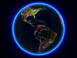 Colombia on Earth from space at night