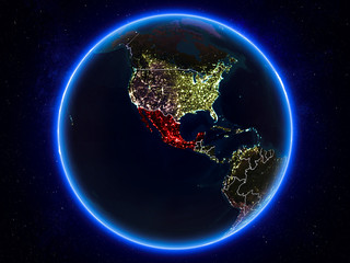 Mexico on Earth from space at night