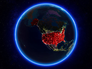 USA on Earth from space at night