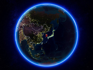 South Korea on Earth from space at night