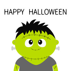 Happy Halloween. Frankenstein monster. Cute cartoon funny spooky baby character. Green head face. Greeting card. Flat design. White background. Isolated.