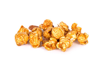 sweet butter caramel popcorn with almond on white background