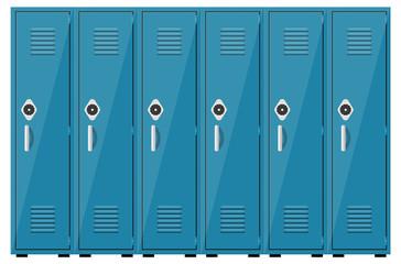 Empty blue school lockers