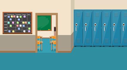 empty school interior,open door in classroom
