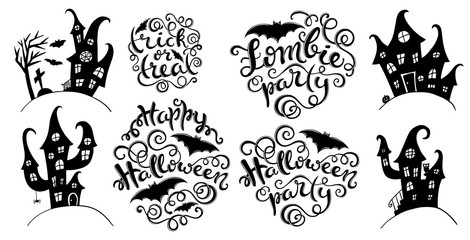Set of handlettering phrases for Happy Halloween party