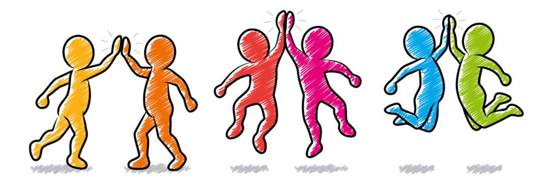 Set: Farbige Strichmännchen beim High-Five / Schraffierte Vektor-Zeichnung