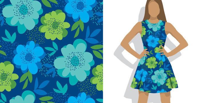 Abstract naive summer floral seamless pattern.