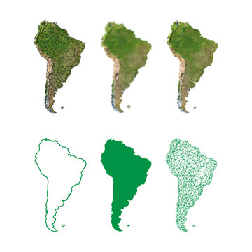 Abstract low poly set of South America maps
