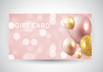 Gift Card Template with Balloons Vector Illustration