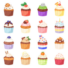 Cupcake vector muffin and sweet cake dessert with berries or caked candies illustration set of confectionery with cream and sweets in bakery for birthday party isolated on white background