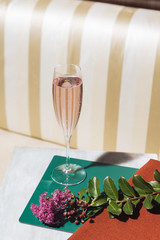 A flutes of Prosecco, an italian sparkling wine in an elegant bar