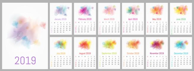 Vector watercolor design calendar 2019