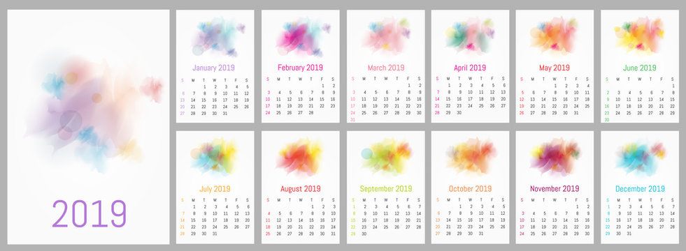 Vector watercolor design calendar 2019