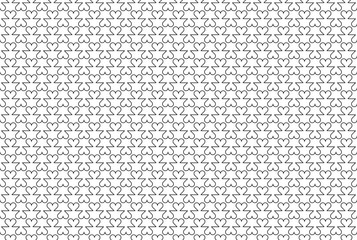 Abstract seamless linear pattern with motifs of hearts. Simple black and white texture. Vector