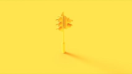 Yellow Traffic Light Signals 3d illustration