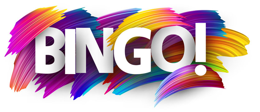 Bingo sign with colorful brush strokes.