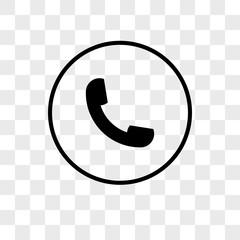 Auricular phone vector icon on transparent background, Auricular phone icon