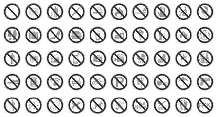 50 Verbots- & Warnschilder (Grau)
