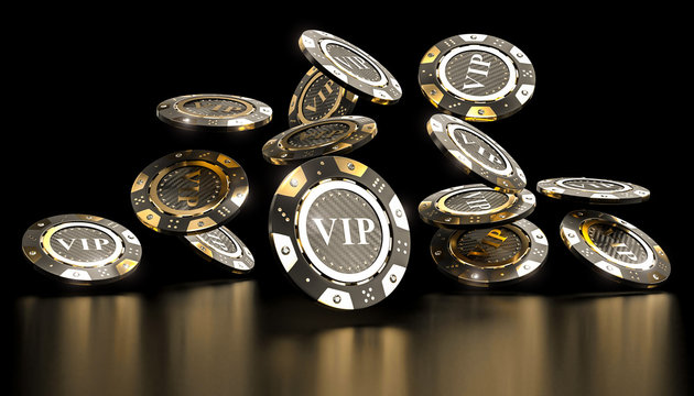 golden vip casino chip 3d
