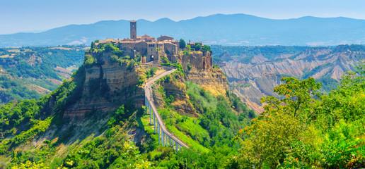 Panorama of the beautiful medieval village of Civita di Bagnoregio, famous landmarks of Italy. Europe Fototapete