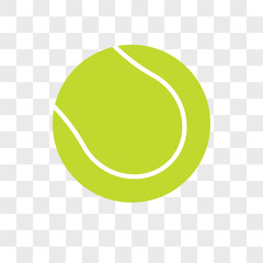 Tennis ball vector icon on transparent background, Tennis ball icon