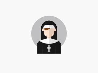 nun cartoon avatar flat design icon